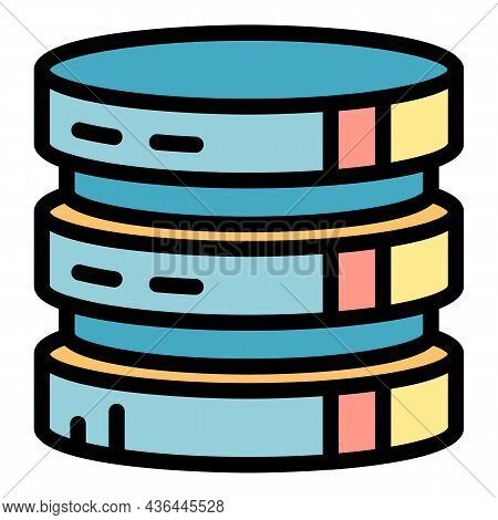 Round Server Tower Icon. Outline Round Server Tower Vector Icon Color Flat Isolated