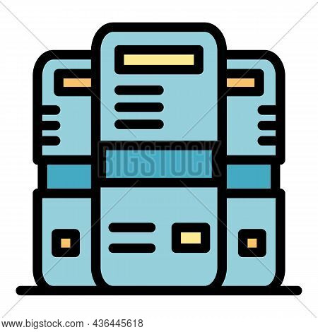 Powerful Server Icon. Outline Powerful Server Vector Icon Color Flat Isolated
