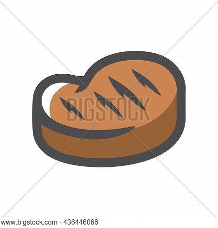 Steak Piece Of Meat Vector Icon Cartoon Illustration