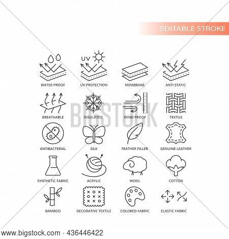 Fabric Material Feature Live Vector Icon Set. Fabrics Features And Properties Symbols, Editable Stro