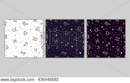 Zodiac Signs Pattern. Vector Collection Of Astrology Seamless White And Dark Backgrounds For Textile