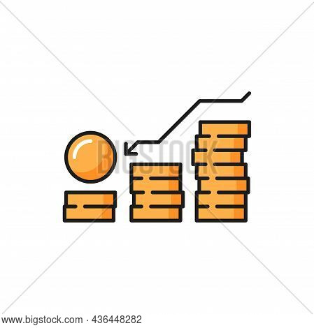 Coins Stack With Arrow Down, Money Debt Chart Isolated Color Line Icon. Vector Budget Recession, Inv