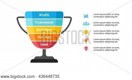 Winner Cup. Success Infographic. Presentation Slide Template. Diagram Chart With 5 Steps, Processes.