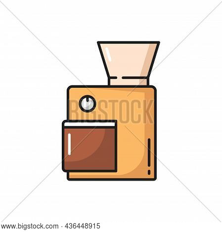 Electronic Machine Coffee Grinder Isolated Device Flat Line Icon. Vector Domestic Device Coffee Grin