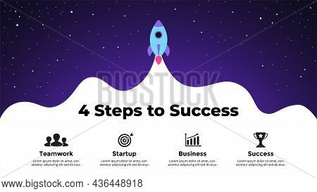 Startup Vector Infographic. Rocket Launch Into Space. Presentation Slide Template. Business Success
