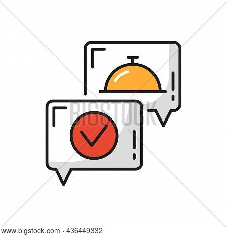 Food Tray And Online Delivery Done Accepted Icons. Vector Accepted Or Done Mark In Bubble, Fastfood