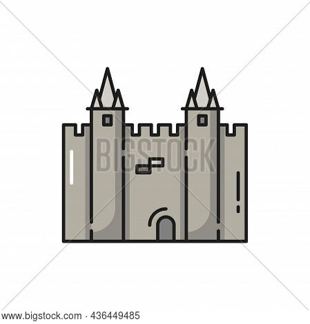 Fortress Castle Of Portugal Isolated Flat Line Icon. Vector Medieval Europe Architecture, Famous Tou