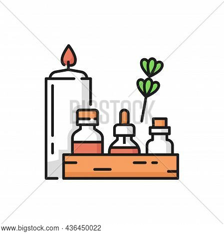 Beauty Cosmetics Bottles, Spa Skin Care Products Isolated Flat Line Herbal Cosmetics. Vector Burning