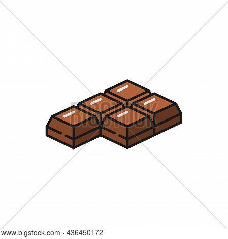 Choco Bar Isolated Piece Of Switzerland Chocolate Flat Line Icon. Vector Milk Chocolate Square Bar Y