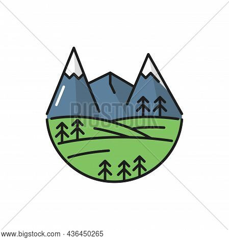 Alps Mountains Scenery Landscape Flat Line Icon. Vector Line Sign Of Nature, High Mount Ice Peak Sim
