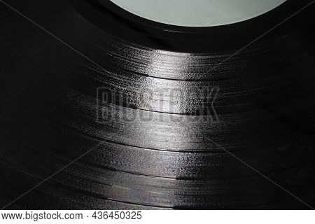 Vinyl Lp Record Grooves For Musical Background. Long Playing Records Were The Musical Medium Standar