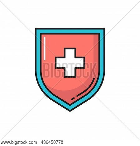 Shield With Medical Cross Isolated Color Line Icon. Vector Virus, Probiotic, Lactobacillus And Prebi