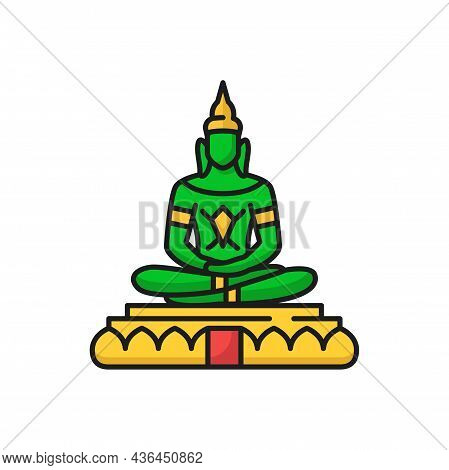 Emerald Buddha Phra Kaeo Morakot Phra Phuttha Maha Mani Rattana Patimakon In Meditation Isolated Col