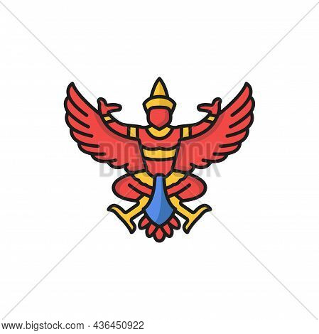 King Of Garuda Krut Lord With Wings Isolated Color Line Icon. Vector Traditional Buddhism Sculpture