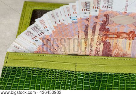 Russian Banknotes Of Five Thousand Rubles In A Wallet In A Fan Close-up, Cash Money, Business Financ