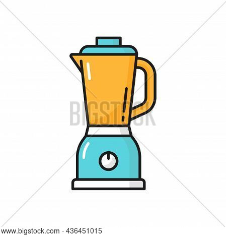 Electric Blender Mixer Machine Tool Isolated Line Icon. Vector Electronic Device For Preparing Cockt