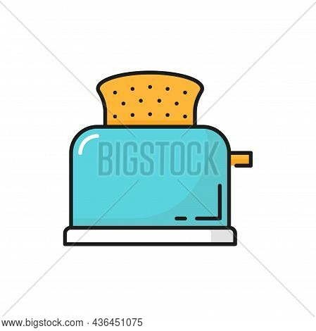 Retro Toaster Household Device With Toasted Bread Isolated Color Line Icon. Vector Kitchenware Devic