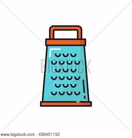 Grater Kitchenware Item With Sharp Blade Isolated Color Line Icon. Vector Device Covered By Holes Us