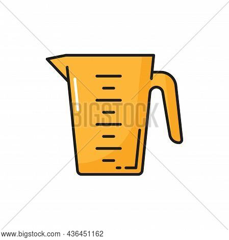 Measuring Cup Yellow Cooking Utensil With Liters Scale Isolated. Vector Container Mug For Making Coc