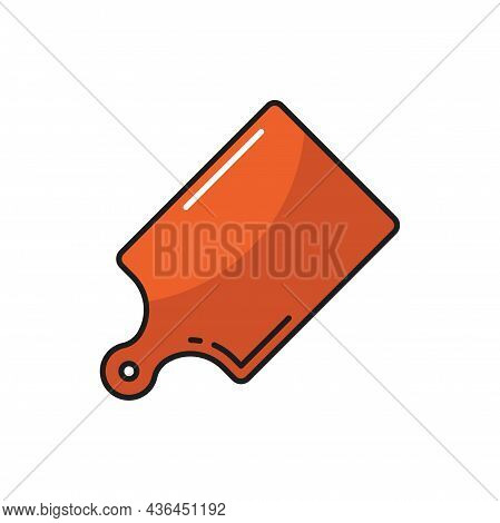 Cutting Or Chopping Board With Handle Isolate Icon. Vector Wooden Board, Flat Breadboard, Kitchen Cu