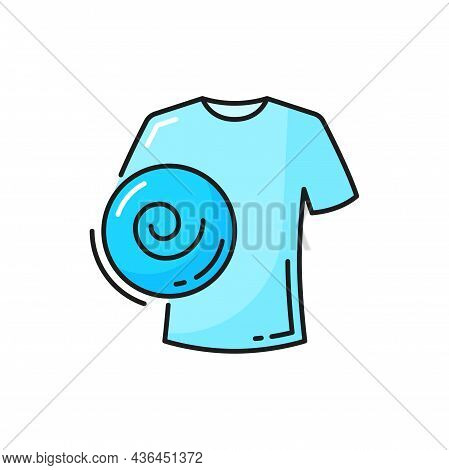 Extra Tightening, Delicate Spin Or Washer Spin Cycle Isolated Line Icon. Vector White Cloth Shirt Wa