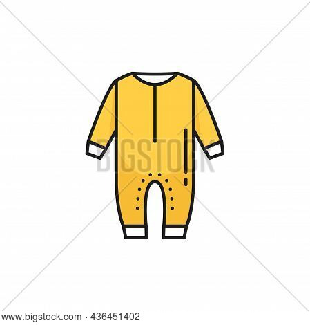 Baby Things Wash Sign, Yellow Fastened Detached Romper With Sleeves And Long Legs Trousers Isolated