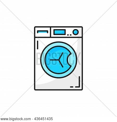 Washer Electric Drying Or Washing Machine Isolated Color Line Icon. Vector Bathroom Washing Device,