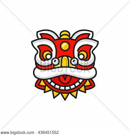 China Head Mask Of Dancing Lion Dog Dancer Isolated Icon. Vector Face Mask To Dance On Chinese New Y