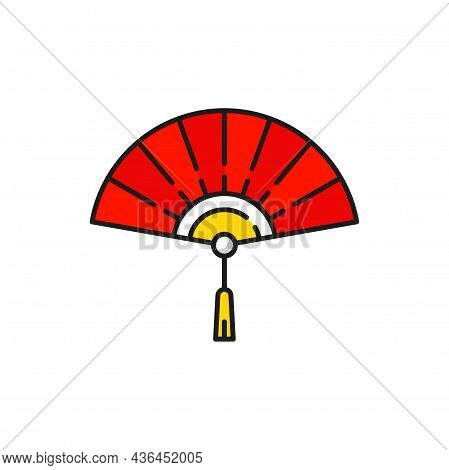 Chinese Fan With Tassel Isolated Handheld Tessen Souvenir From China Color Line Icon. Vector Folding