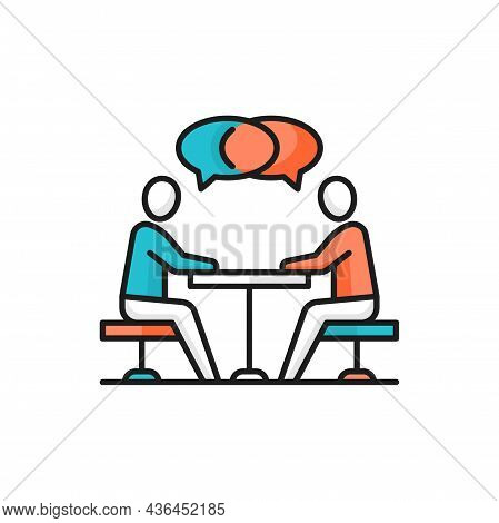 People Sitting At Desk And Talking, Business Communication Isolated Icon. Vector Collaboration, Busy