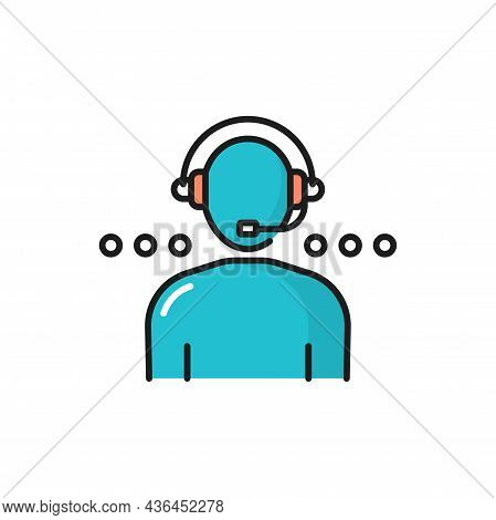 Customer Service User In Headphone Color Line Icon Isolated. Vector Online Consultant Support Help,