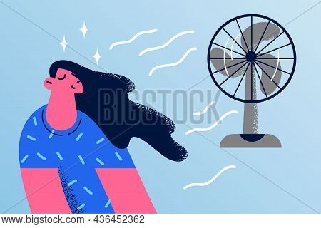 Enjoying Cool Air From Wave Concept. Young Smiling Woman Cartoon Character With Eyes Closed Sitting