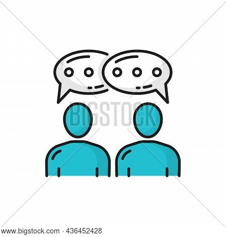 Communication Of Two Business People In Messenger Isolated Color Line Icon. Vector Team Members Comm
