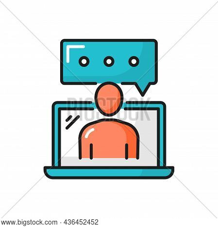 Online Support, Content Editor Typing On Laptop Isolated Color Line Icon. Vector Chat Or Online Supp