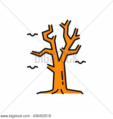 Dry Tree With Bare Twigs Or Branches Isolated Outline Icon. Vector Dry Bare Tree Twigs, Brown Color