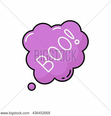 Spooky Banner With Horrible Boo Text Dialog Bubble Isolated Color Icon. Vector Scary White Cloud, Sp