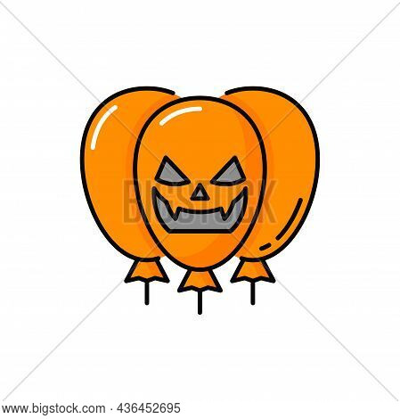 Scary Face Of Ghost Demon On Halloweens Balloons Isolated Orange Color Bubbles. Vector Smiling Demon