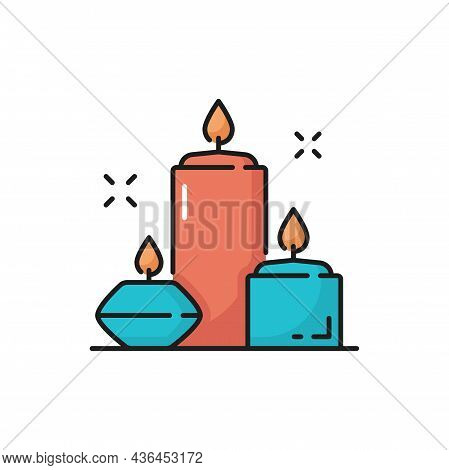 Aroma Beauty Spa Candles Isolated Outline Icon. Vector Burning Aromatic Lighted Candles, Thin Line.