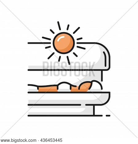 Girl Lying And Tanning In Solarium, Spa Procedure Isolated Icon. Vector Tanning Equipment With Ultra