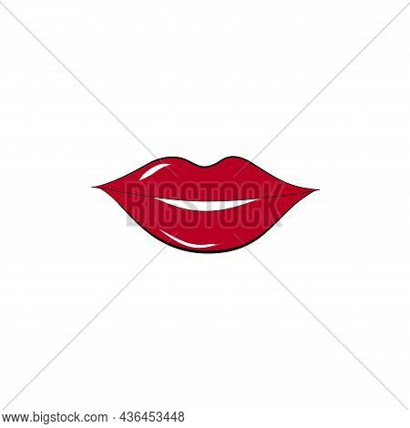 Red Sexy Woman Lips On White Background. Modern Stylish Icon For Tattoo, Logo, T Shirt, Emblem, Bann