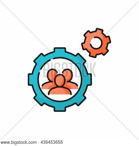 People In Cogwheel Cooperating Together, Brainstorm Isolated Color Line Icon. Vector Mutual Cooperat