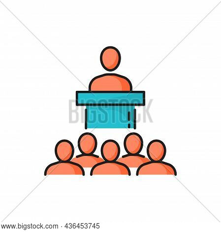 President, Boss Or Politician Speaking On Podium Isolated Color Line Icon. Vector Brainstorming And