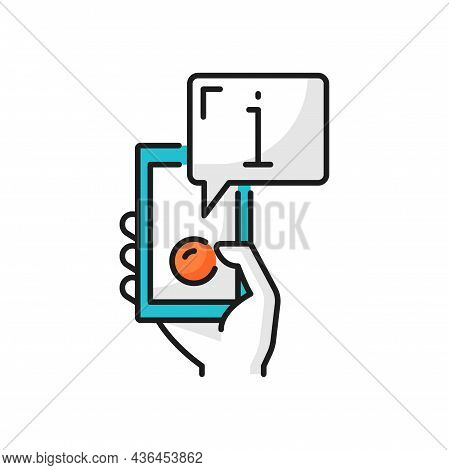 Chat Info, Fax, Help, Support Center On Phone Sign Isolated Color Line Icon. Vector Helpdesk, Travel