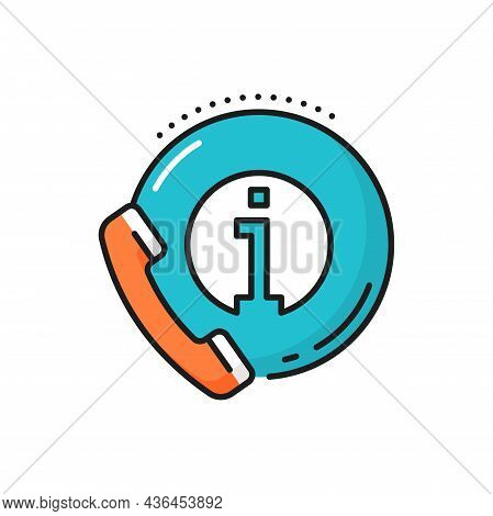 Phone With Information Bubble Isolated Line Icon. Vector Helpdesk Sign, Travel Consulting And Instru