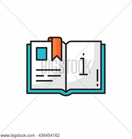 Open Information Book With Bookworm Isolated Thin Line Icon. Vector Catalogue Or Magazine Info And I