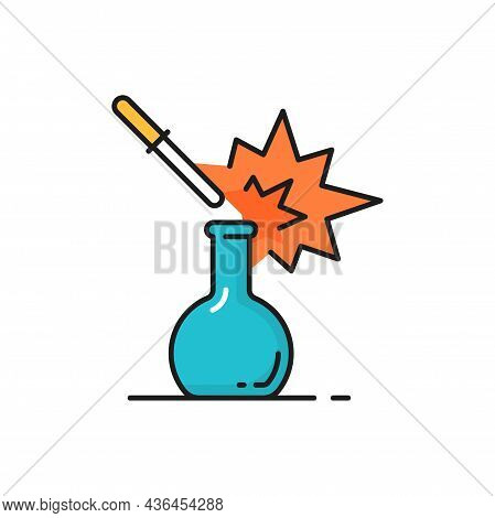 Gene Engineering, Beaker And Droplet Lab Glassware Isolated Color Line Icon. Vector Genetics, Chemis