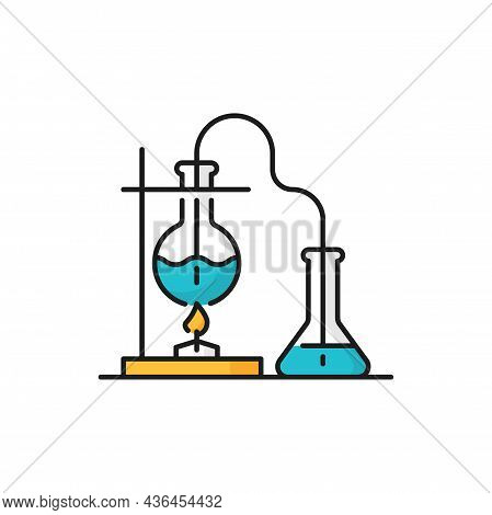 Scientific Research Flasks, Genetics Modifications, Liquid In Round Bottom Flask Being Heated Over B