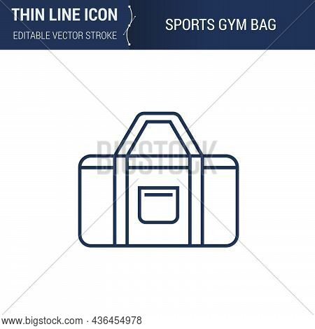 Symbol Of Sports Gym Bag Thin Line Icon Of Sport And Fitness. Stroke Pictogram Graphic Suitable For
