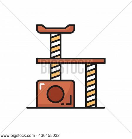 Comfortable House For Cat Isolated Thin Line Icon. Vector Accessory For Pet, Cozy Kitty Home, Game C