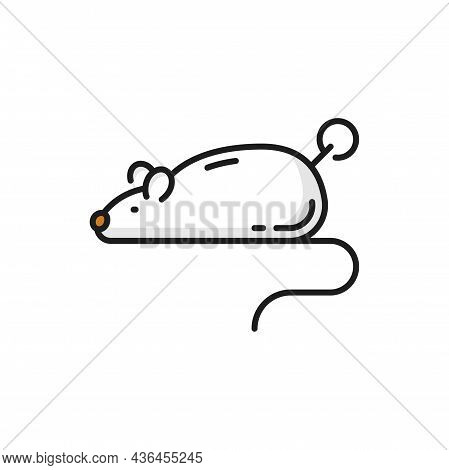 Clockwork Mouse Mechanical Toy For Cat Isolated Outline Icon. Vector Cute Mice Rodent For Kittens To